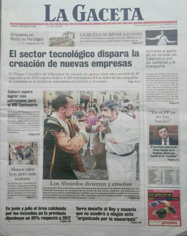 Los Absurdos Teatro. Portada de La Gaceta de Salamanca.